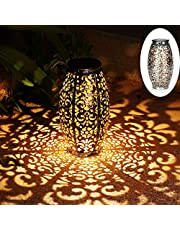 Solar Lantern Lights for Hanging or Table Outdoor Solar Light for Patio Courtyard Garden (Silver)