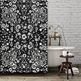 Black and White Floral Shower Curtain. Boho gypsy style bathroom accessories. Add a matching bath mat! Artwork by mixed media artist C.Cambrea.
