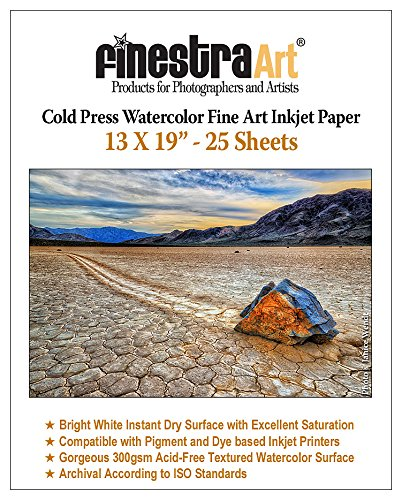 13x19 Cold Press Watercolor Fine Art Inkjet Paper 300gsm 25 Sheets