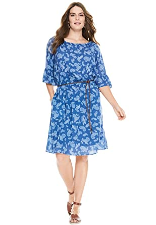 Woman Within Womens Plus Size Elbow Sleeve Gauze Peasant Dress At