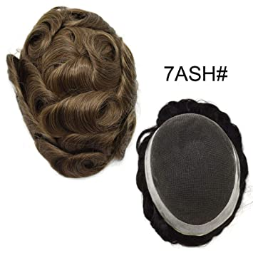Amazon Lhc Usa Mens Toupee French Lace Hair Replacement Poly