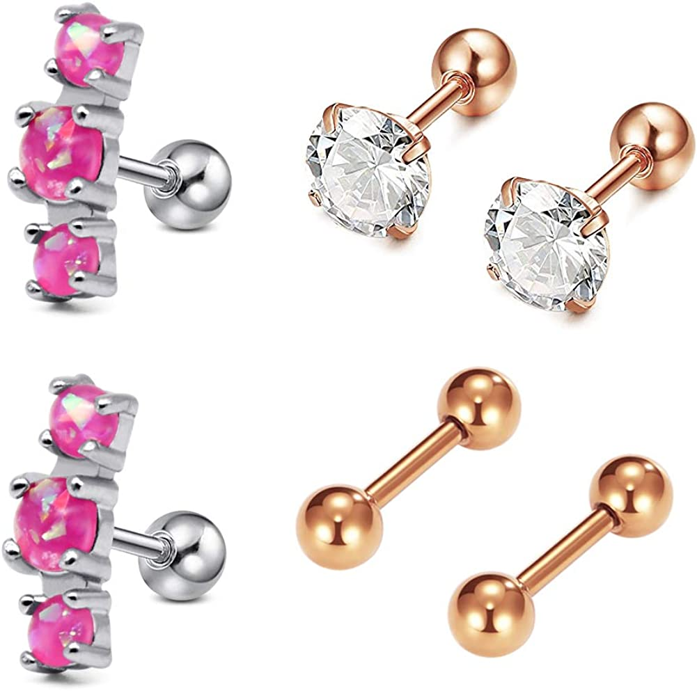 Surgical Steel Ear Piercing Stud Earrings Cartilage Helix Tragus Gift Decoration