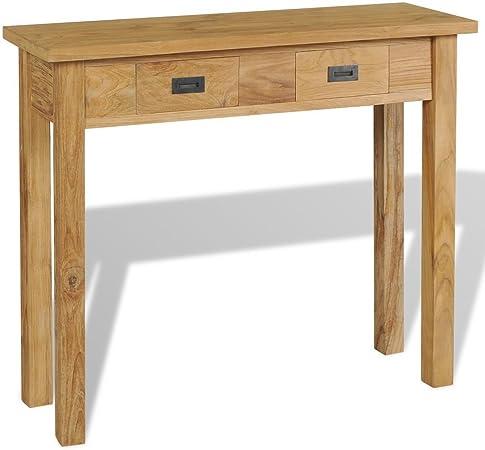 Vidaxl Teck Massif Table Console De Salon Couloir 90x30x80 Cm