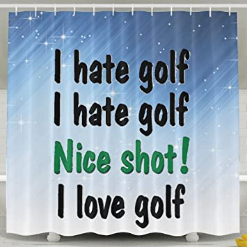 Amazon HUANGLING I Hate Love Golf Shower Curtain 60x72inch