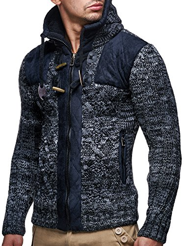 LEIF NELSON LN20525 Men's Knit Zip-up Jacket with Geometric Patterns and Leather Accents; Size US XL, Black