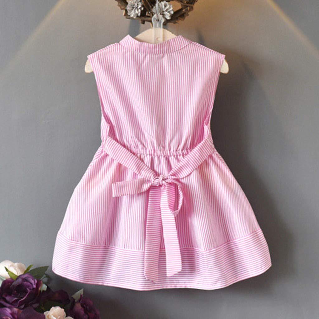 baskuwish Kids Little Girls Dress Casual Cutie Toddler Cute Sleeveless Button Pleated Dresses for Kids