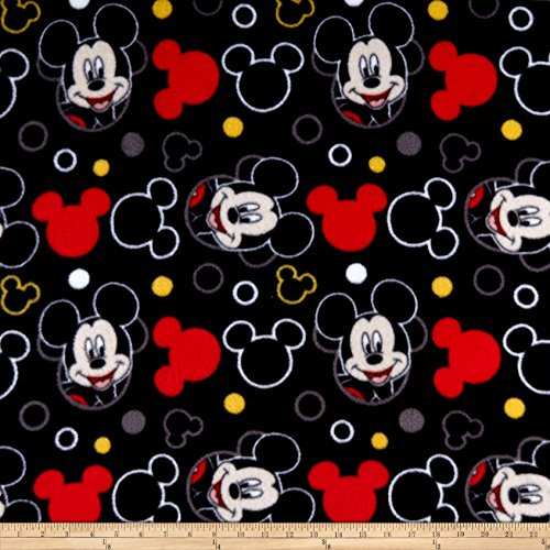 Springs Creative Products Disney Everyday Mickey Head Icons Fleece Black Fabric by The Yard