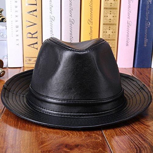 21d61e4c36062 baiou Sombrero de Jazz de Cuero para Hombre Sombrero de Panamá de Cuero  Sombrero de Piel de Oveja Sombrero de Fieltro Sombreros de Cuero (XL)   Amazon.es  ...
