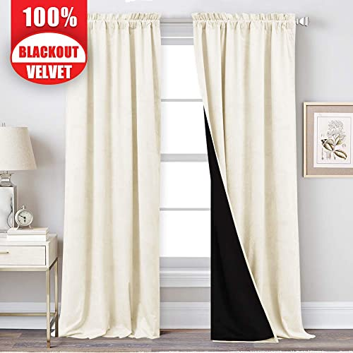 StangH 100 Blackout Curtains Velvet – Thermal Insulated Lined Curtains 108 Inches Double Layer Curtains for Living Room Rod Pocket Window Drapes, Ivory, Wide 52 x Long 108, 2 Panels