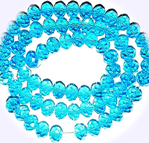 New Carribean Blue AB 10mm Rondelle Faceted Cut Crystal Glass Jewelry-Making Beads 22-inch DIY Craft Supplies for Handmade Bracelet Necklace