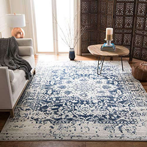 Safavieh Madison Collection MAD603D Cream and Navy Distressed Medallion Area Rug (9' x 12')