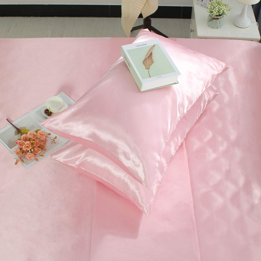 uxcell Standard Pillowcases Satin Luxury Comfortable No Zipper Envelope Closure Fade Wrinkle Resistant Pink 2pcs