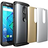 Moto X Pure Edition Case, SUPCASE Water Resistant Full-body Rugged Case with Built-in Screen Protector for Motorola Moto X Style / Pure Edition 2015 - 3 Interchangeable Covers (Gray/Silver/Gold)