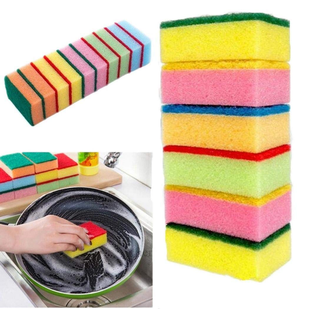 Legros8 Home Kitchen Double Layer Soft Strong Water Absorption Dishwashing Sponge Sponges