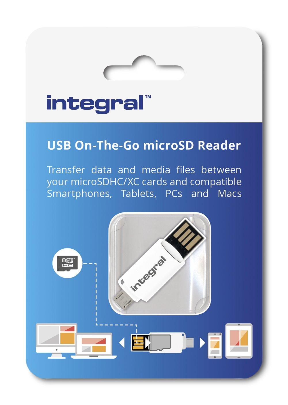Blanco Integral Memory INCROTGMSD Lector de Tarjetas USB Tipo A//Micro USB Tipo B