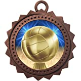 Express Medals Various 10 Pack Styles of Volleyball Award Medals with Neck Ribbons Trophy Award Prize Gift