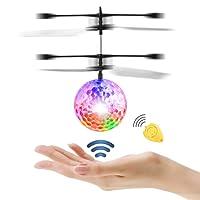 Diswoe Flying Ball Cristal Clignotant LED RC Jouet Infrarouge Induction Hélicoptère pour Enfants Classique Transparent avec Télécommande