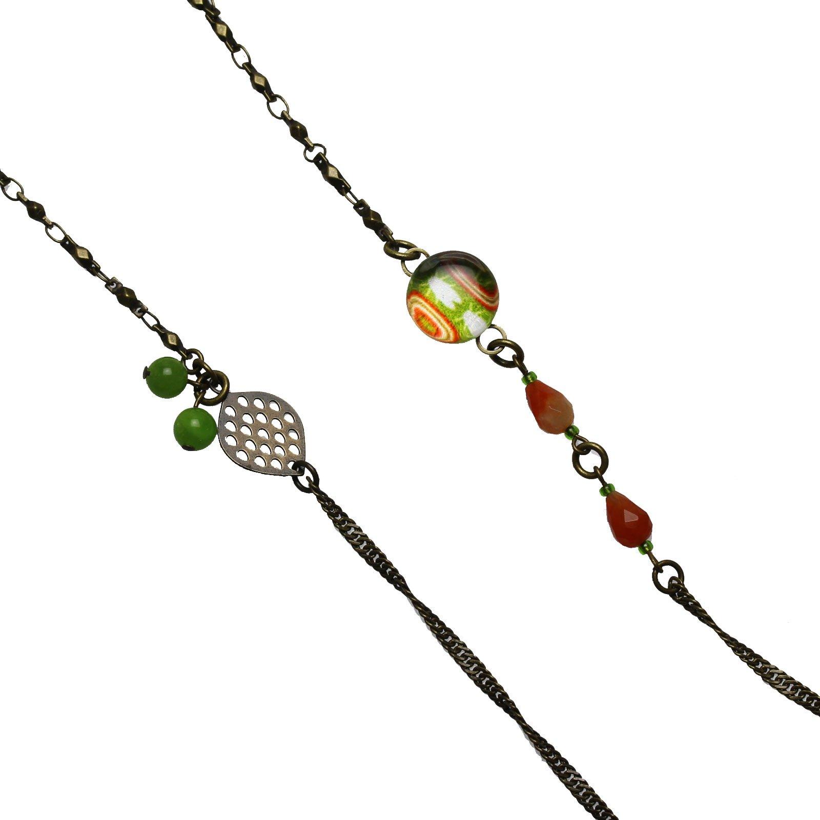Tamarusan Glasses Chain Cicada Green Carnelian Glass Cord Handmade