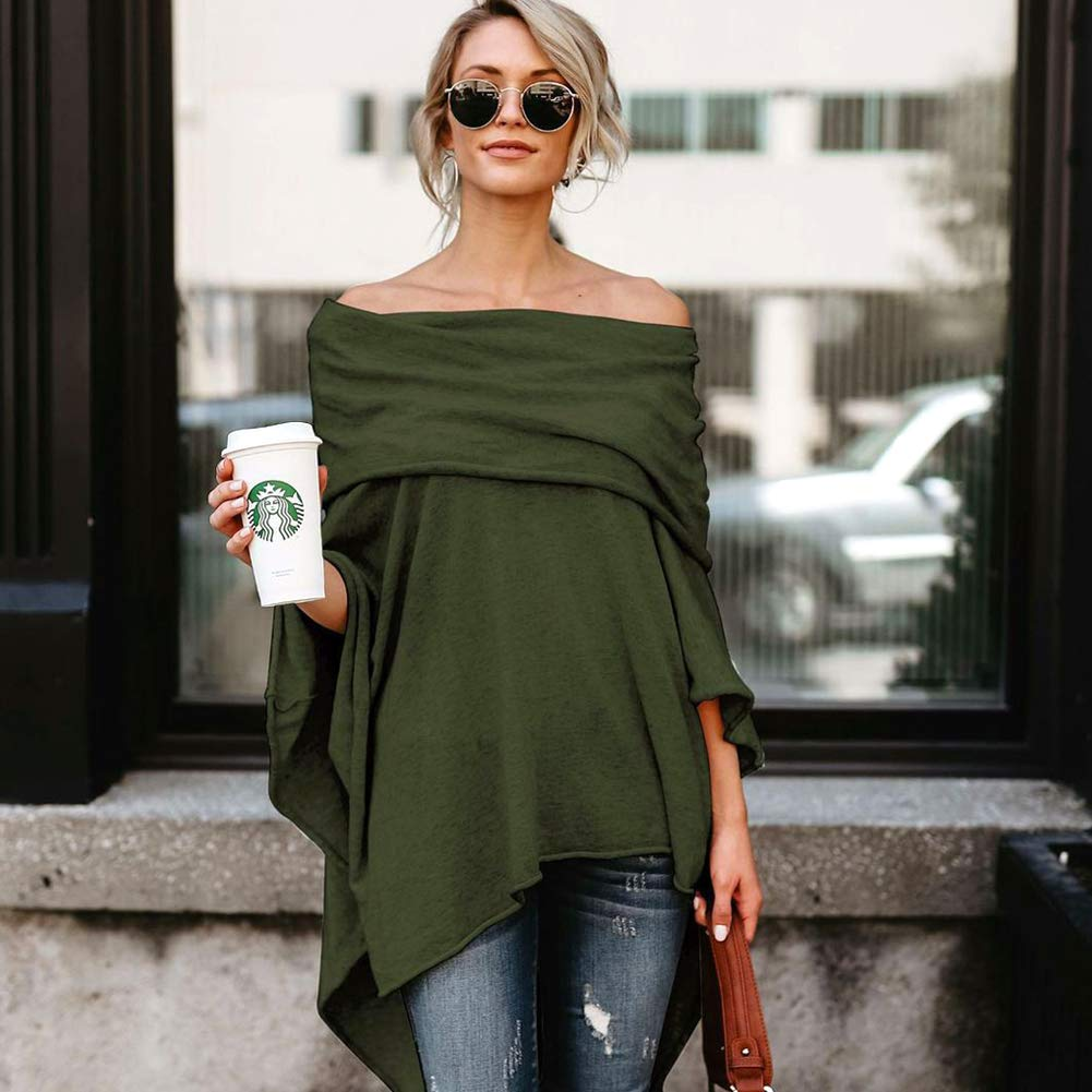 Women's Plus Size Shirt Pullover Tunic Tops Asymmetry Tees Blouse,Irregular Top Off Shoulder High Low T-Shirt (Army Green, S)