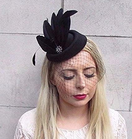 Starcrossed Boutique Black Veil Feather Pillbox Hat Hair Fascinator Races  Funeral Clip Headpiece 3919  Amazon.co.uk  Beauty 77a165e4401