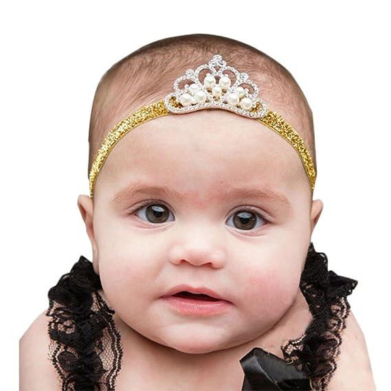 K-youth® diademas bebe niña diademas bebe recien nacidos Perla corona banda para el pelo elasticas cintas de pelo bebe niña bautizo cinta para ...