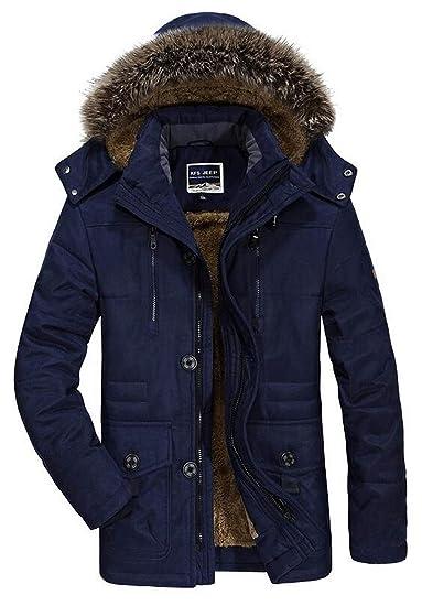 7366f429dbff DHYZZ Men s Autumn Winter Casual Hooded Long Coat Fleece Thick Warm Jacket  Windproof Waterproof Multi-