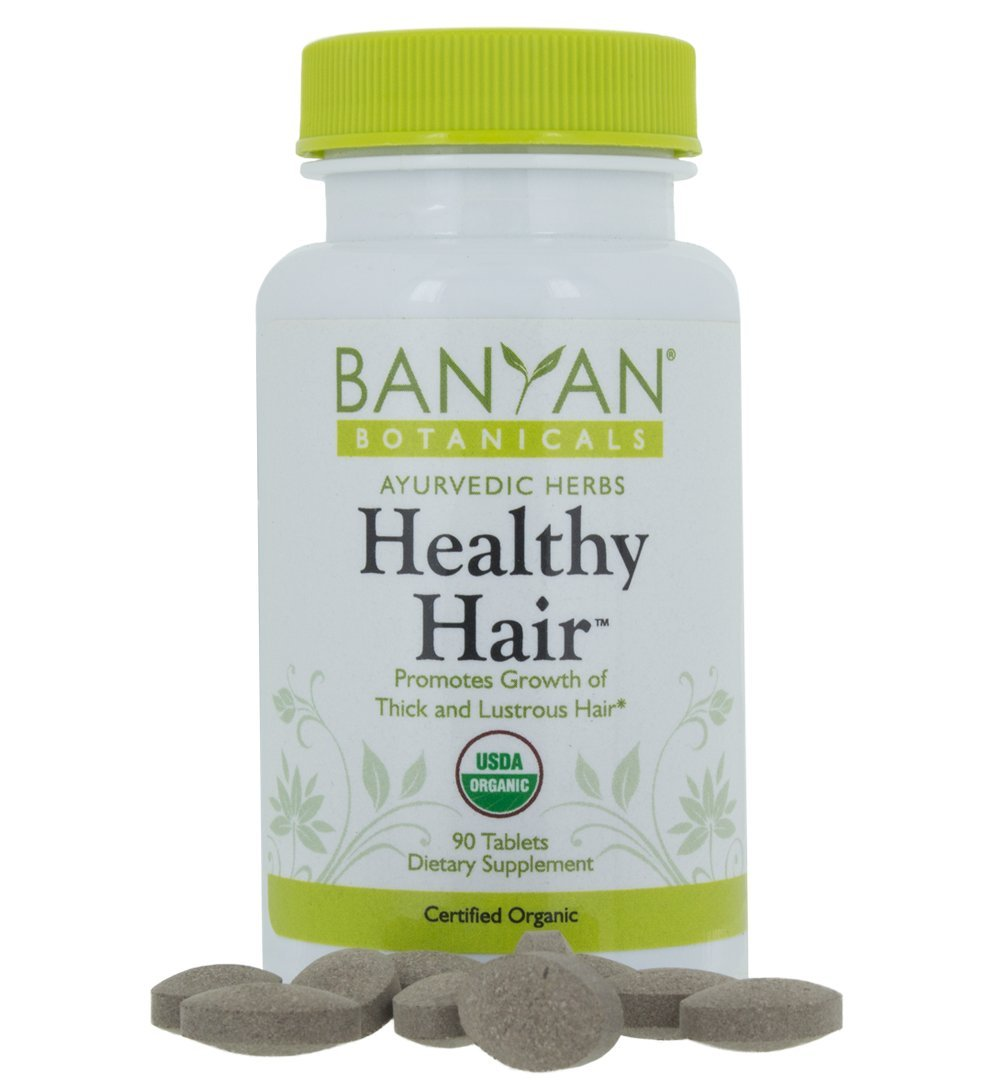 Banyan Botanicals Healthy Hair - USDA Certified Organic, 90 Tablets - Nourishing Herbal Formula for All Hair Types