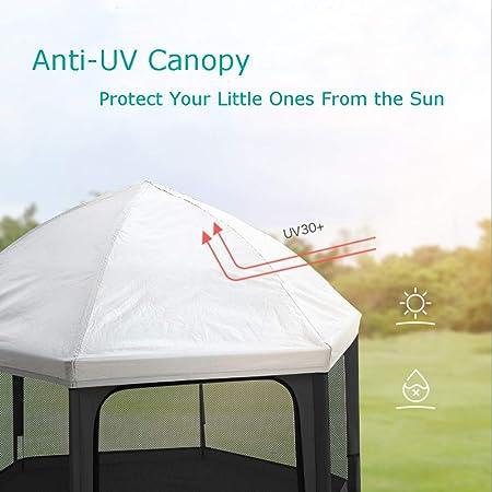 Laufstall Baby Laufgitter Schwarz Exqline Kindersicherheitslaufstall mit selbstaufblasbarer Matratze faltbarer Kinderspielstift UV-Baldachin