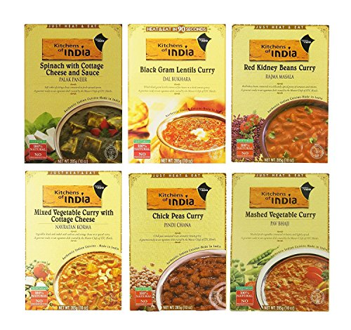 Kitchens of India Heat & Eat, Dinner Variety Pack, 10 Ounce Boxes pack of 6