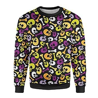 Cartoon Halloween Skulls Mens Sweatshirt - 2XL