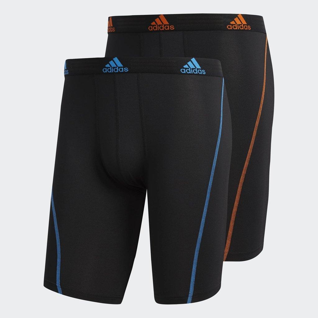 adidas Men's Sport Performance Midway Underwear (2-Pack), Black/Bright Blue Black/Orange, MEDIUM by adidas