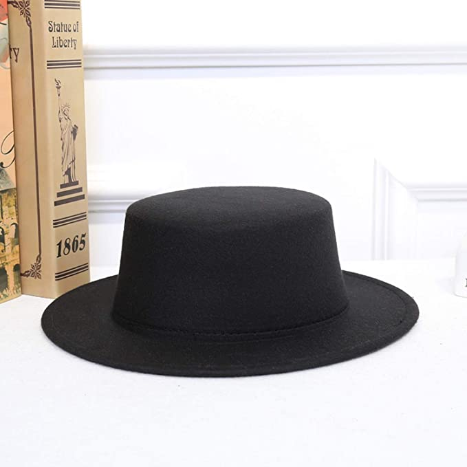 01b01e8ca42dce Wool Felt Amish Style Boater Hat Fashion Trilby Hat Retro Solid Ladies  Formal Party Flat Top Hat for Women Men Black at Amazon Women's Clothing  store: