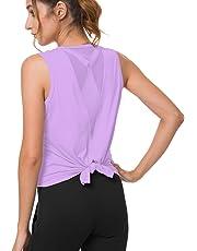 Bamans Women's Cute Mesh Yoga Workout Tank Tops Activewear Muscle Sleeveless Open Back Sports Shirts