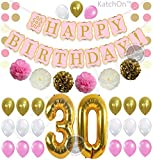 old birthday - PINK 30th BIRTHDAY DECORATIONS PARTY KIT - Pink Gold and Cream Paper PomPoms  Latex Balloons   Gold Number 30 Ballon   Circle Garland   30th Birthday Balloons   30 Years Old Birthday Party Supply