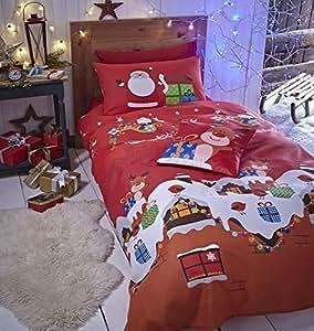 Catherine Lansfield - Funda de edredón y 2 fundas de almohada (200 x 200 cm y 50 x 75 cm, 55% algodón y 45% percal de poliéster), diseño de Papá Noel