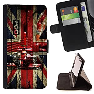 For Samsung Galaxy S6 Edge Plus UK British F1 Formula Style PU Leather Case Wallet Flip Stand Flap Closure Cover