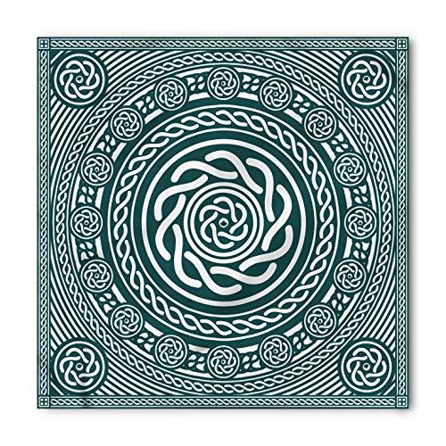 (Lunarable Unisex Bandana, Celtic Irish Circular Insular Art, Blue White)