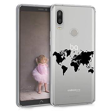 kwmobile Funda para bq Aquaris X2 / X2 Pro - Carcasa de [TPU] para móvil y diseño de Mapa del Mundo en [Negro/Transparente]