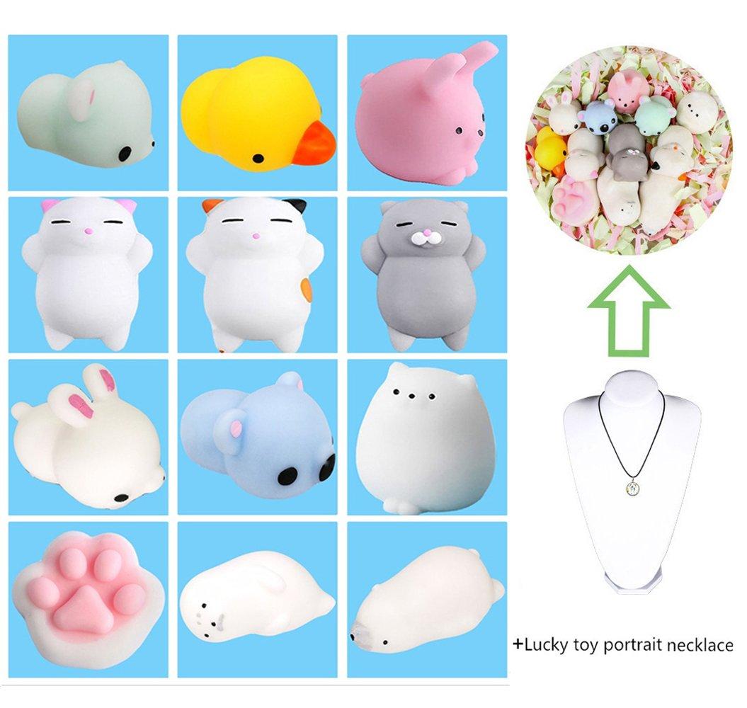 12Pcs Mini Kawaii suave Cat pollo cierre elástico Squishy juguete con caja mochi Squeeze Toy Stress Reliever Tpocean