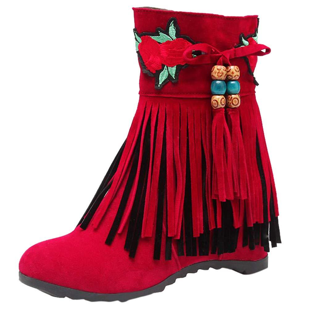 JJHAEVDY Women's Tassel Embroidery Hidden Heel Mid Calf Boot Suede Non-Slip Flat Lining Winter Ankle Boots with Zipper by JJHAEVDY