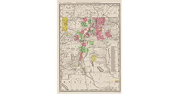 Amazon.com: Old State Map - New Mexico - Rand McNally 1897 - 23 x 33.07 - Glossy Satin Paper: Posters & Prints