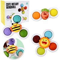 3pcs Suction Cup Spinner Toys Baby Spinners Toy w/Pop Fidget Function Fidget Toy Push Pop Bubble Sensory Rotating Toy…