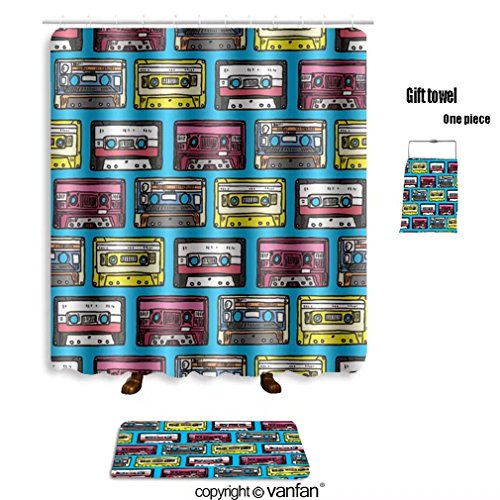 vanfan bath sets with Polyester rugs and shower curtain retro cassette pattern 289377569 shower curtains sets bathroom 48 x 78 inches&23.6 x 15.7 inches(Free 1 towel and 12 hooks)