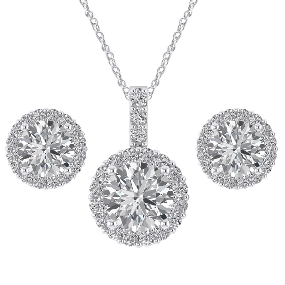 Pretty Jewels Dearest Gift on Valentine Day /♥ Sterling 925 Round Cubic Zirconia Halo Earrings and Pendant Necklace Set