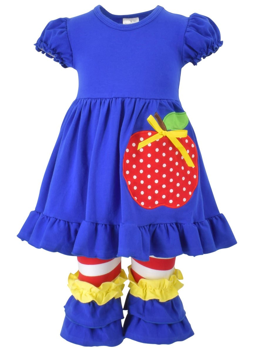Unique Baby Girls Back to School Apple Tank Boutique Outfit (5T/L, Blue)