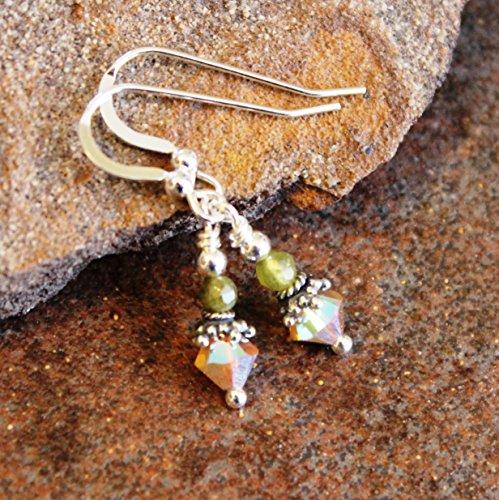 (Green Garnet Gemstone Earrings Sterling Silver)