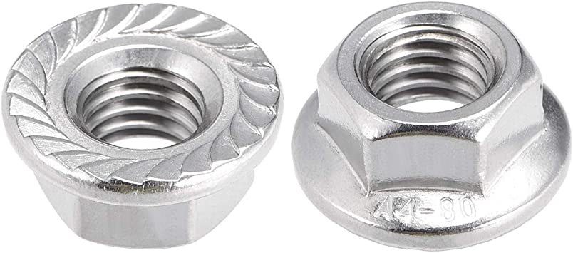 50 Pcs 304 Stainless Steel uxcell M3 Serrated Flange Hex Lock Nuts