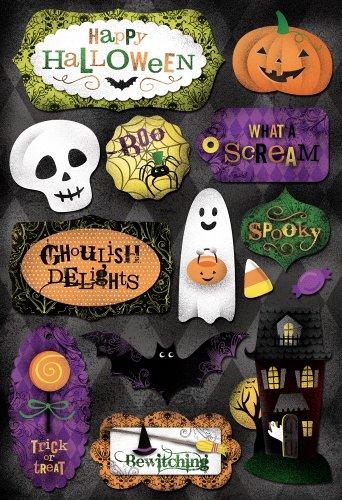 Karen Foster Design Acid and Lignin Free Scrapbooking Sticker Sheet, Spooky (Halloween Party Designs)