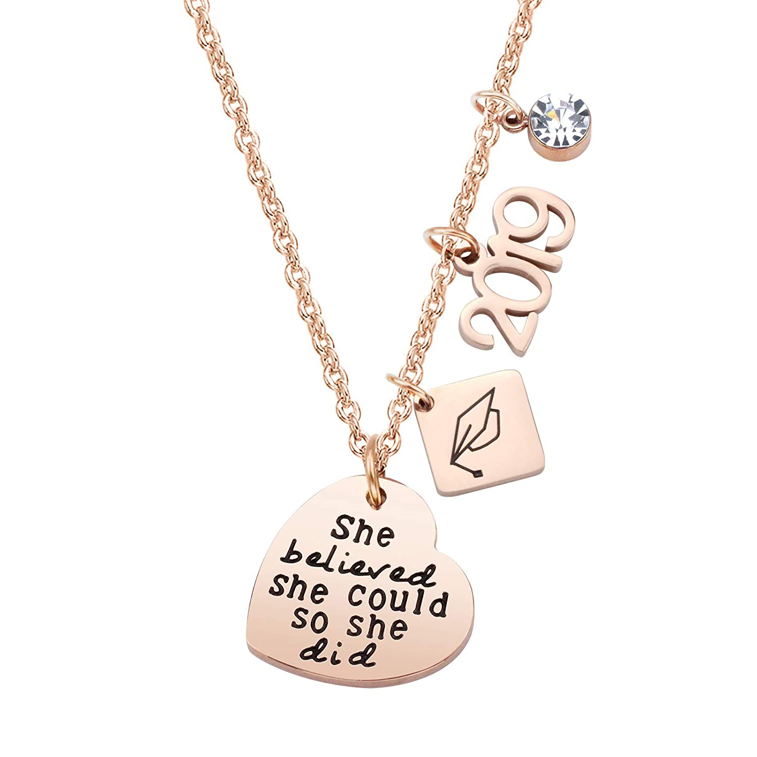 ivyAnan Jewellery Inspirational Gift for Women Girls Graduation Gift Jewelry Necklace Keychain Engraved She Believed She Could So She Did 2018 2019