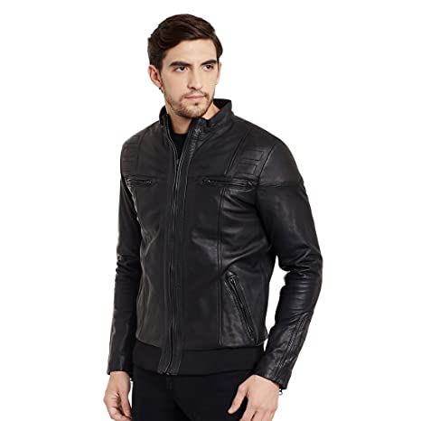 Mens slimfit Bomber Leather Jacket.: Amazon.in: Clothing & Accessories